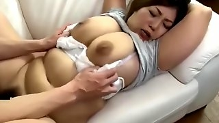 Japanese step mom fucked by step son while cleaning