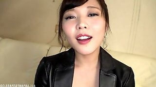 Shy Japanese wife Kawagoe Yui in leather gives the best blowjob