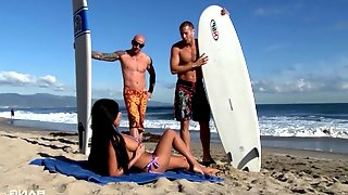 Incredible Anissa Kate gets smashed by two studs she met at the beach