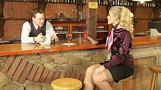 Lustful blonde Sweet Kat enjoys rear banging with a barman