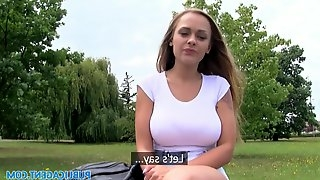 Gorgeous Russian chick with nice tits takes cock for cash