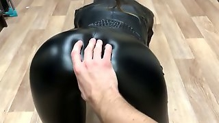 Sexy gf fucked in leather outfit