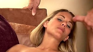 Cock Teasing Dirty Talk petite Wife Sucks and gets big face full of cum!